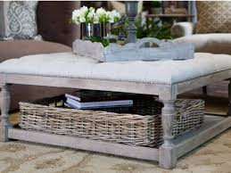 love this coffee table with basket storage decor and