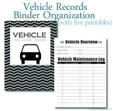 Vehicle Log Spreadsheet Car Maintenance Log Book Vehicle Records Binder Organization Free