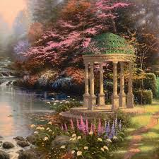 thomas kinkade 1958 2016 the garden of prayer hand embellished limited edition on canvas numbered and signed with certificate of authenticity