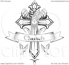 1080x1024 clipart graphic of a black and white cross with eagle talons and
