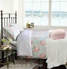 aqua blue pink roses duvet set shabby beach cottage chic duvet comforter cover set full queen