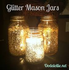 Decorate Jar Candles Glitter Mason Jars Beautiful and sparkly with a candle inside 55