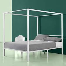 Amazon.com: Zinus Patricia White Metal Framed Canopy Four Poster ...