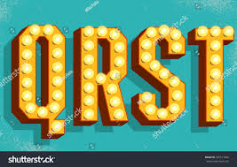 Vector retro letters with light bulbs. Old Vintage Style Marquee Letters Q ,R,