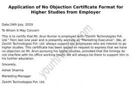 Format Of Employer Certificate Request Latter Of Noc Format For Higher Studies From Employer