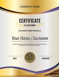 Yellow Certificate Gold Background Certificate Template Certificate