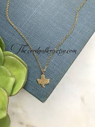 texas state necklace tiny gold stamped