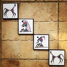 Small Picture Colourful handmade handpainted Warli Wall Art Set of 4 Buy