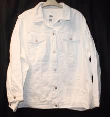 new old navy womens plus size 4x heavyweight white denim jean jacket w pockets