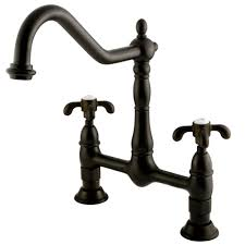 kingston brass victorian 2 handle bridge kitchen faucet with cross handle in oil rubbed bronze