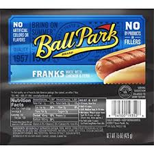 ball park hot dog meat franks 8 count