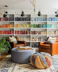 A Color Coordinated Bookshelf Will Make A Space Feel Bigger And More  Streamlined