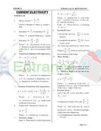 Physics Formula Chart Pdf Formula Booklet Physics Class 12 Chapter Current Electricity