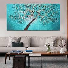 unframed print canvas blue plum flower oil painting picture home bedroom wall art decor 24 x47 random pattern com