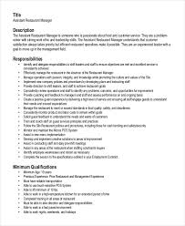 Restaurant Assistant Manager Resume Sample Resume Examples