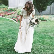 <b>LORIE</b> Lace <b>Boho</b> Wedding Dress Short Sleeve Scoop A Line ...