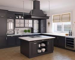 Astonishing Design Of The Open Kitchen Design With Black Wooden Kitchen  Island Added With Brown Tile