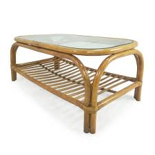 glass top bamboo coffee table used