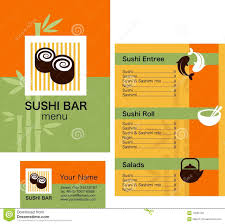 Sushi Menu Template And Business Card With Logo Stock Vector