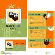 Menu Templates Design Sushi Menu Template And Business Card With Logo Stock Vector