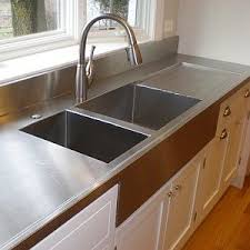 Custom Farmhouse Inspired Kitchen Work Surface Stainless Steel Counter Top With Integrated Sink And Drain Board Pinterest Your Diy Stainless Steel Countertop Fabrication Guide In 2019