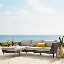 Modern outdoor furniture cheap Sponeck Marina Outdoor 2piece Chaise Sectional Sofamania All Outdoor West Elm