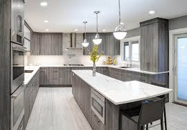 cool gray stained kitchen cabinets