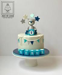 Bear Topper Boy 1st Birthday Cake Cake By Akademia Tortu Magda