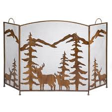 com gifts decor rustic forest folding fireplace screen home kitchen