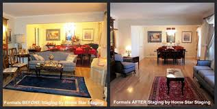 Stacked formal living room and dining room before and after staging
