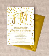 Birthday Party Invitation Gold Calligraphy Confetti 50th Birthday Party Invitation From