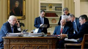 president in oval office. US President Trump And Senior Advisors In The Oval Office