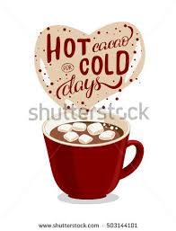 hot chocolate mug clipart. handmade cacao illustration with lettering and quote hot for cold days. christmas mood chocolate mug clipart