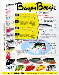 Vintage Bomber Lure Color Chart Whopper Stopper Bayou Boogie Vintage Color Chart Bass