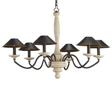 antique country 6 fabric shades wood chandelier 10667