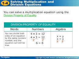 1 4 solving multiplication and division equations pre algebra you can solve a multiplication