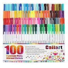 Caliart Markers 100 Color Chart Caliart Fineliner Color Pens Set 100 Colors Fine Line