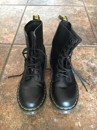 black leather doc marten boots women s 8