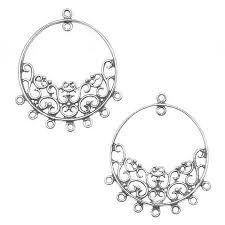 get ations sterling silver filigree hoop heavy chandelier earring findings 40mm