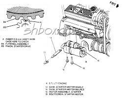 4th gen lt1 f body tech aids drawings exploded views starter mounting and drive gear mesh