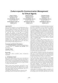 Pdf Culture Specific Communication Management For Virtual Agents
