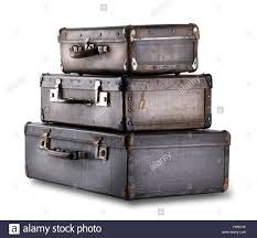 Old Suitcases Stack Of Old Suitcases Isolated On White Background Stock Photo