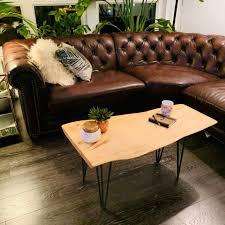 live edge coffee table silver maple
