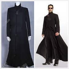 hot the matrix cosplay neo costume black trench coat overcoat aa 0269