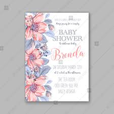 Baby Shower Invitations Template Dog Rose Pink Sakura Anemone Bloom Wild Rose Baby Shower Invitation Template Thank You Card
