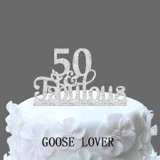 Us 719 20 Off50th And Fabulous Cake Topper 50th Birthday Cake Decoration Acrylic Funny Wedding Cake Accessories Custom Cake Topper In Cake