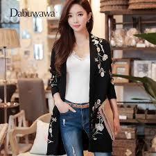 <b>Dabuwawa New Spring</b> Black Knitted Long sleeve Coat Women ...