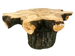 rustic pine stump coffee table