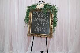 welcome to our happily ever after gold frame sign
