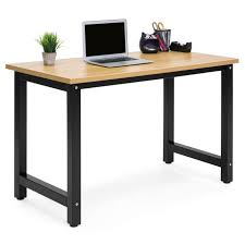 office desk workstation. Best Choice Products Large Modern Computer Table Writing Office Desk Workstation - Light Brown/Black S